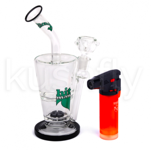 "Hitman Glass 14"" Double Layer Waterpipe (w/Torch & Dab Tool)"