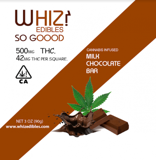 Whiz Edibles Milk Chocolate Bar 500mg THC