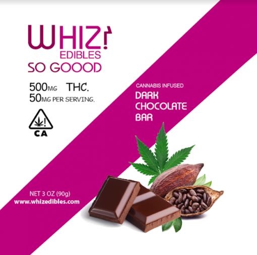 Whiz Edibles Dark Chocolate Bar 500mg THC