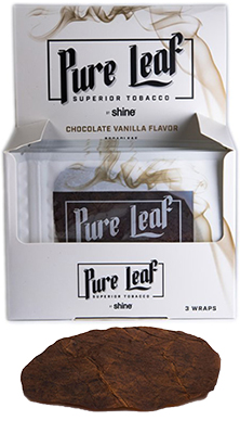 Shine Pure Leaf Chocolate Vanilla Flavor Blunt Wrap 3 pack