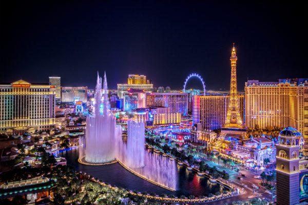 Panoramic view of Las Vegas Strip at night in Nevada