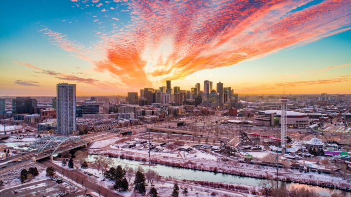 Denver, Colorado, USA Downtown Skyline Drone Aerial